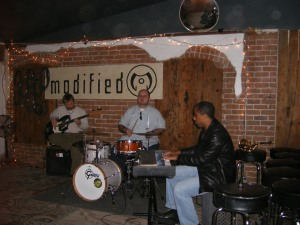 Here is a band on stage at Modified Arts.