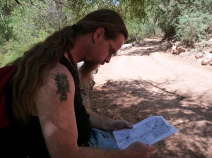 Carl reading the map. Bring a good freind!