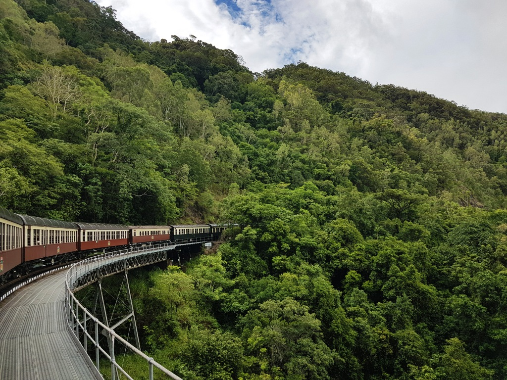 train through mountains