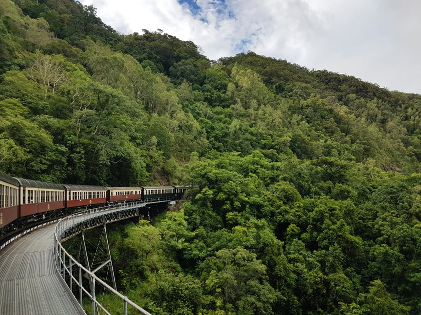train through mountains