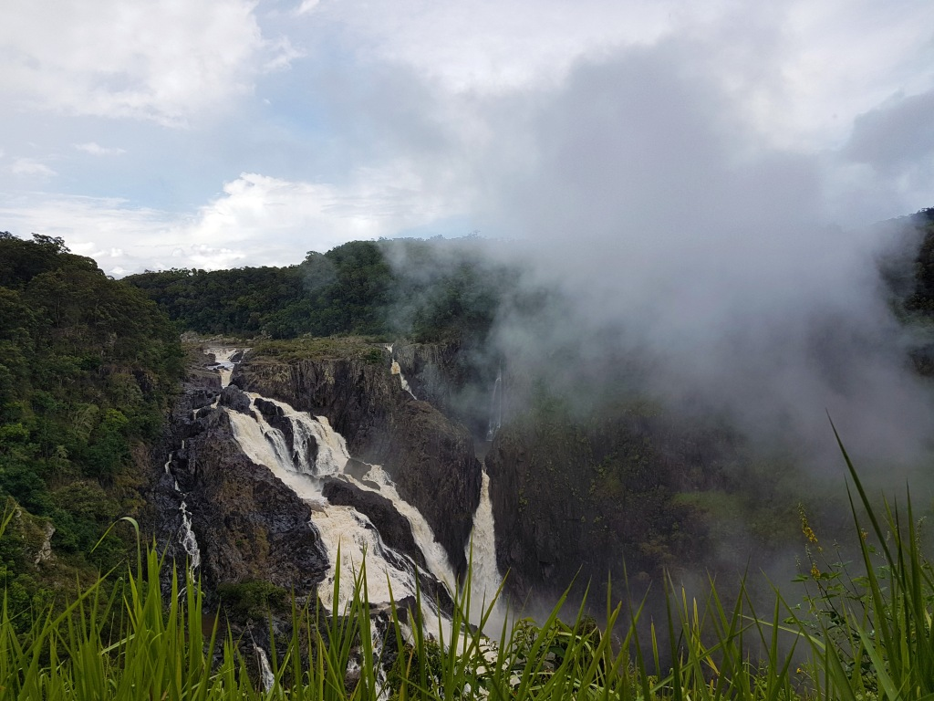 waterfall and mist